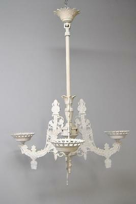 Eastlake Iron Painted White Three Candle Candelabra Chandelier