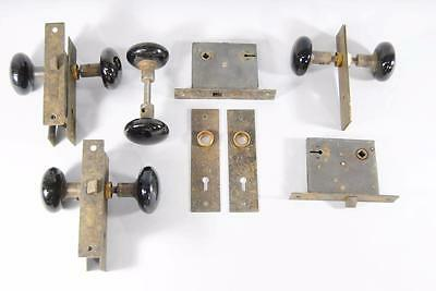 4 Sets Of Russell & Erwin Door Hardware, Back Plates & Black Handles Knobs