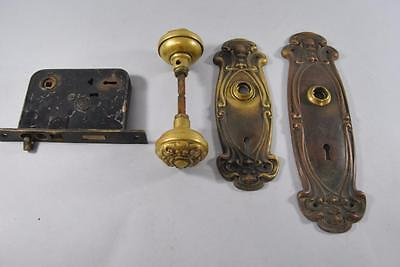 Art Nouveau Brass Entry Door Lock & Handle Set
