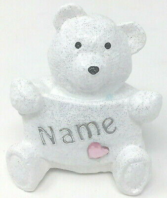 Personalised Grave Memorial Ornament Teddy Bear Plaque Baby Girl Outdoor Tribute