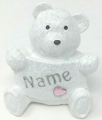 Personalised Grave Memorial Teddy Bear Plaque Baby Girls Outdoor Garden Ornament