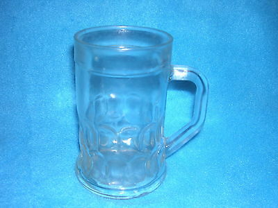 Glass Beer Stein / Mug with Handle, Nice Round Indentations on Bottom Sides