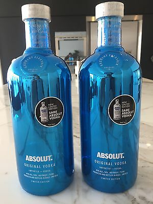 Absolut Electrik Blue Vodka x2 sold as one lot 750ml Licence LIQP770016752