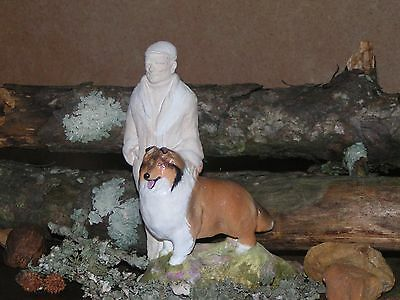 Collie Dog and Master Collectible Figurine by Ron Hevener