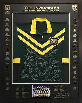 Blazed In Glory - 1982 Kangaroos The Invincibles - NRL Signed and Framed Jersey