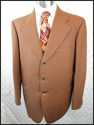 Vintage 70s Brown Polyester Suit Jacket Blazer 42 Chest Anchorman Stay Classy