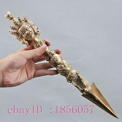 Chinese Brass Copper Hand Carved Tibet Buddhist Ritual Implements