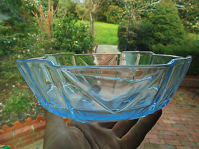 ART DECO AUSTRALIAN BLUE DEPRESSION GLASS BOWL c1930