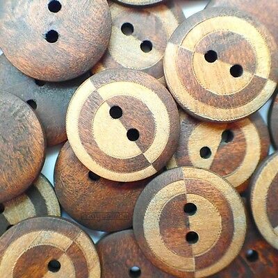 20Mm Rustic Modern Wood Buttons Natural In Brown With 2 Hole Wooden
