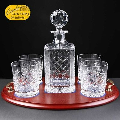 Lead Crystal Hide Tray Whisky Set Fully Cut Tumblers Personalise Engrave Gift