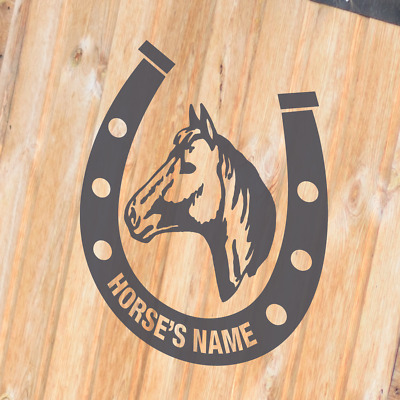 HORSE SHOE WITH HORSE'S NAME Horsebox Trailer Vinyl Stickers Decals Graphics (L)
