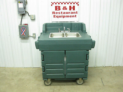 Cambro Mobile 2 Bowl Hand Sink Cam Kiosk Coffee Cart w/ New Water Heater KSC402