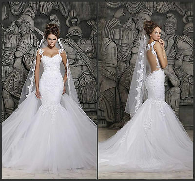 White/Ivory Lace Mermaid Bridal Gown Wedding Dress Stock Size 4 6 8 10 12 14 16+