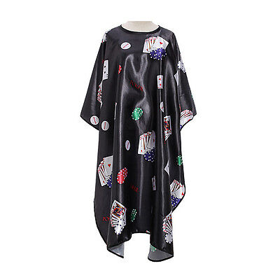 Pro Salon Barber Hair Cut Hairdressing Coloring Poker Pattern Gown Cloth Cape BF