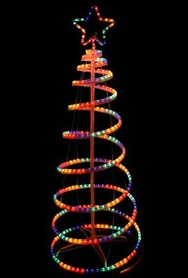 Outdoor Spiral Christmas Tree 5Ft LED Rope Lights Garden Decoration ...