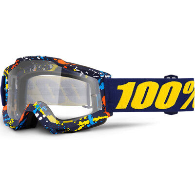 100% Percent Mx NEW Accuri Pollok Navy Dirt Bike Clear Lens Motocross Goggles