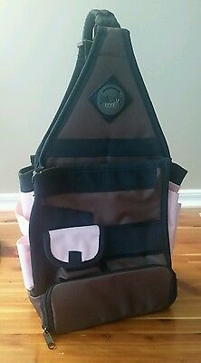 Amm Tote-Ally Cool Scrapbooking On The Go Craft Bag Brown With Pink Pockets