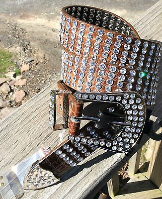 Rhinestone Crystal Buckle Leather Belt Sz.Small Brown Reptile Clear Jewels NEW