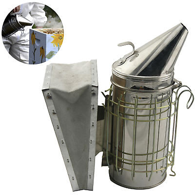 Stainless Bee Hive Smoker Steel with Heat Shield Protection Beekeeping Equipment