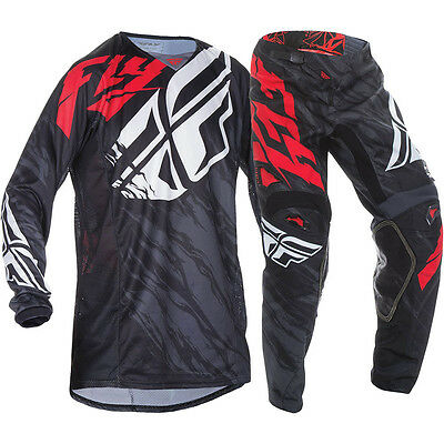 Fly Racing 2017 Mx NEW Kinetic Relapse Black Red Jersey Pants Motocross Gear Set