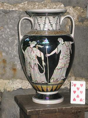 "Large Greek Amphora Pottery Vase 15"" Porcelain Man & lady of Fashion Hand Panted"