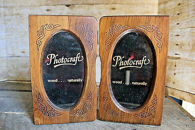 Vintage Wooden Double Oval Photo Frame Photocraft Solid Wood Country Cabin Decor