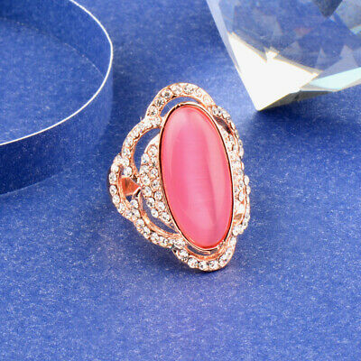Charm Pink Opal Stone Hollow Big Rings For Women 18K Rose/White Gold Jz560