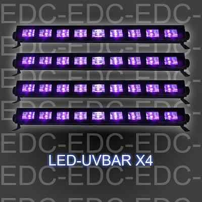 Pack 4  Barres Led Uv 9 X 1W  Lampe Uv Ibiza Light Lumière  Noire Black Light