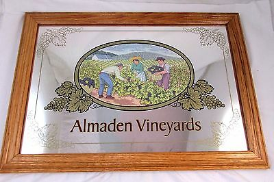 20x14 Almaden Vineyards Wine Bar Sign Mirror Grapes Oak Framed Collectible