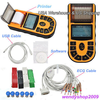US Seller Digital Single Channel Handheld ECG Machine ECG80A USB Cable+Printer
