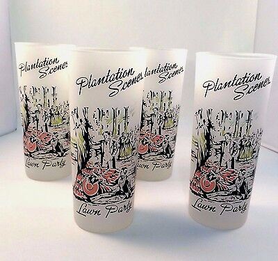 Plantation Scenes Glasses Southern Lawn Party Libbey Frosted High Ball Set of 6