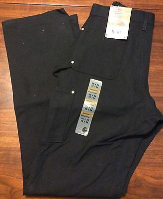 Carhartt Firm Duck Double Front Work Dungaree 30 X 34 Loose Original Fit Black