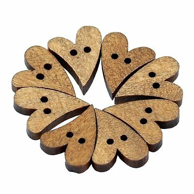 100pcs 2 Holes Lovely Brown Wood Wooden Sewing Heart Shape Button Craft BF