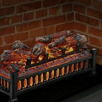 Electric Fireplace Logs Insert Glowing Crackling Faux Wood Burning Home Decor
