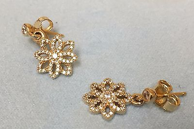 Pandora 14K Gold Lace Botanique, Clear Cz Earrings 250323Cz