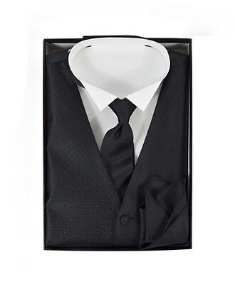 Men's Squared Matching Solid Vest, Hook & Loop Tie, and Handkerchief (FVTHB1001)
