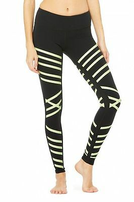 Alo Airbrush Leggings in Black Lineal Glow Women's - Yoga Barre NWT $98