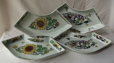 4 1950's Holland Gouda Goedewaagen Royal Potteries Hand Painted Fish Bone Plates