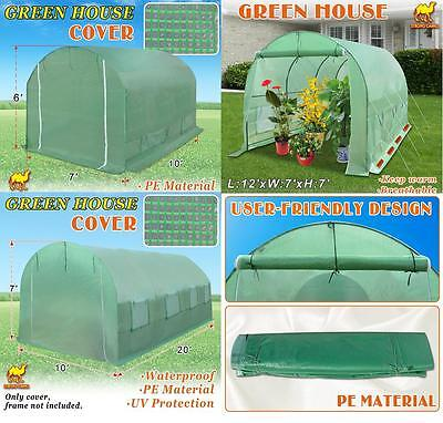 Multi-size 20'X10'X7', 12'X7'X7', 10'X7'X6' Green House Replacement COVER ONLY
