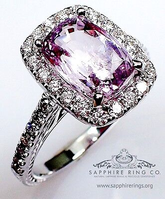 AIGS Untreated 18kt 3.22 tcw Purple Cushion Cut Natural Sapphire & Diamond Ring