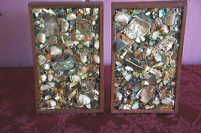 Vtg. Shell And Stone Accented Bookends