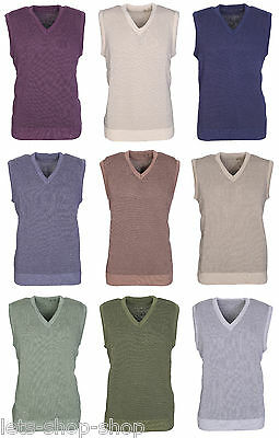Mens V Neck Sleeveless Jumper Gents Tank Top Sweater Slipover Pullover Size M-XL