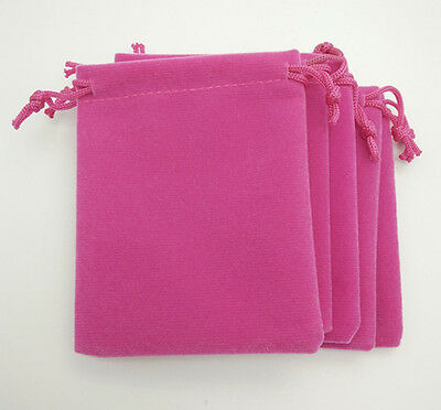 5 pcs small rose red Velvet Bags Jewelry Wedding Party Gift Drawstring Pouches