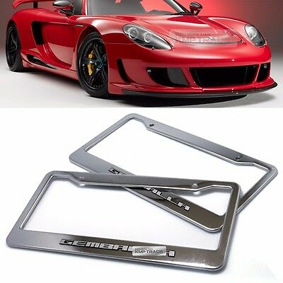 LICENSE PLATE STAINLESS Chrome Silver Frame Hairline Emblem 2P for ...