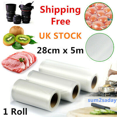 2pcs 28cm x 5m Roll 4mil Vacuum Sealer Bags Food Bags Money Save House Clean SA