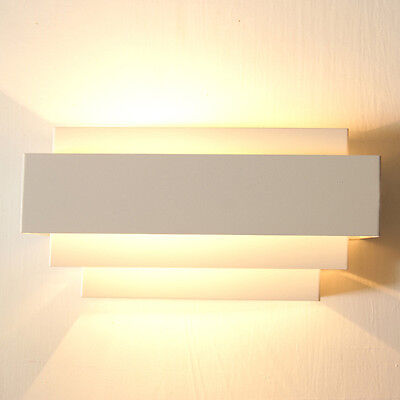 Contemporary Indoor Up & Down Wall Light Curved White Square  Lighting Lamp SA
