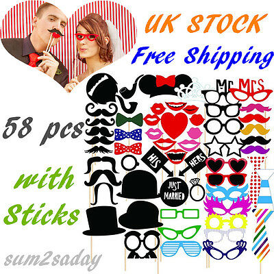 58 Photo Booth Props Moustache on A Stick Wedding Christmas Birthday Party UK SA