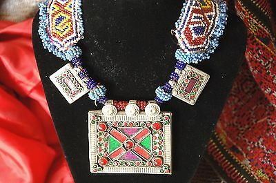 Old Afghanistan Silver & Jeweled Tribal Necklace with Three Silver Prayer Holder