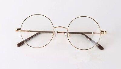 small size vintage round doctor gold frame eyeglasses retro clear lens glasses