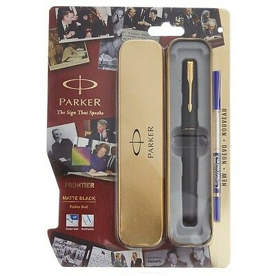 Parker Frontier Matte Black GT Roller Ball Pen One Refill Free and Free Shipping